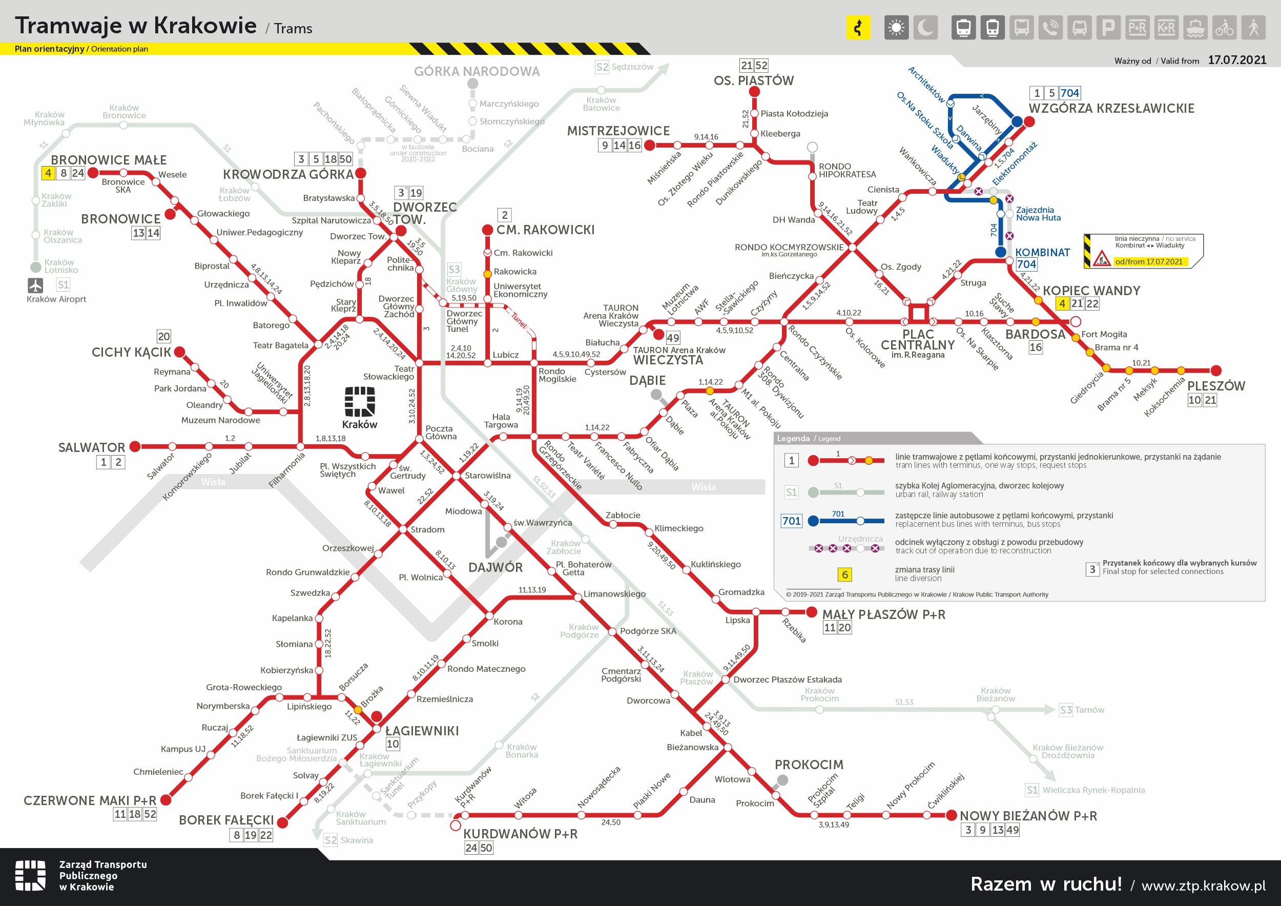 Schemat linii tramwajowych - zmiany czasowe