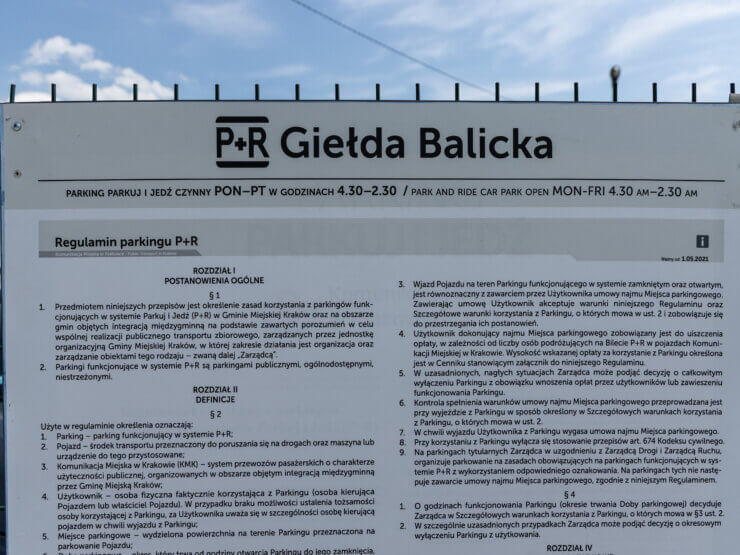 Tablica na P+R Giełda Balicka