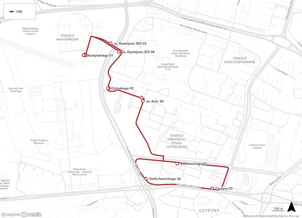 Proponowana trasa linii 198