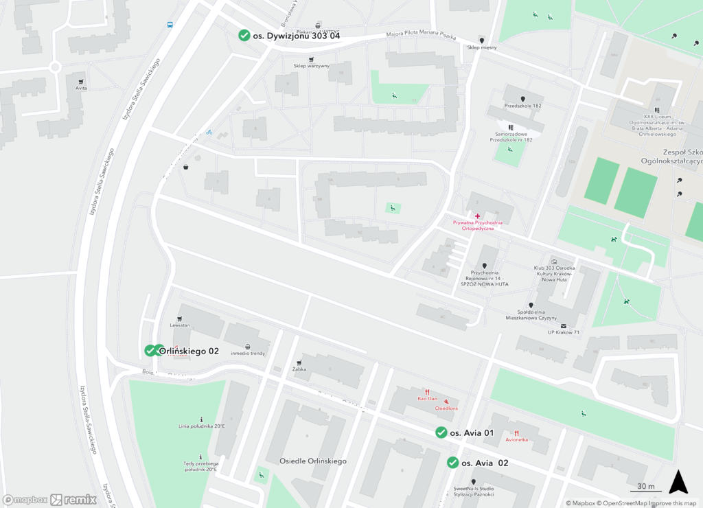 Proponowane przystanki autobusu na os. avia